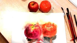 яблуко та мандарин акварель по вогкому
