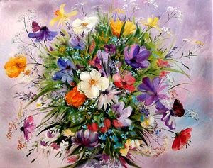 Польові квіти, полотно, олія