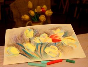 Тюльпани. Натюрморт пастеллю