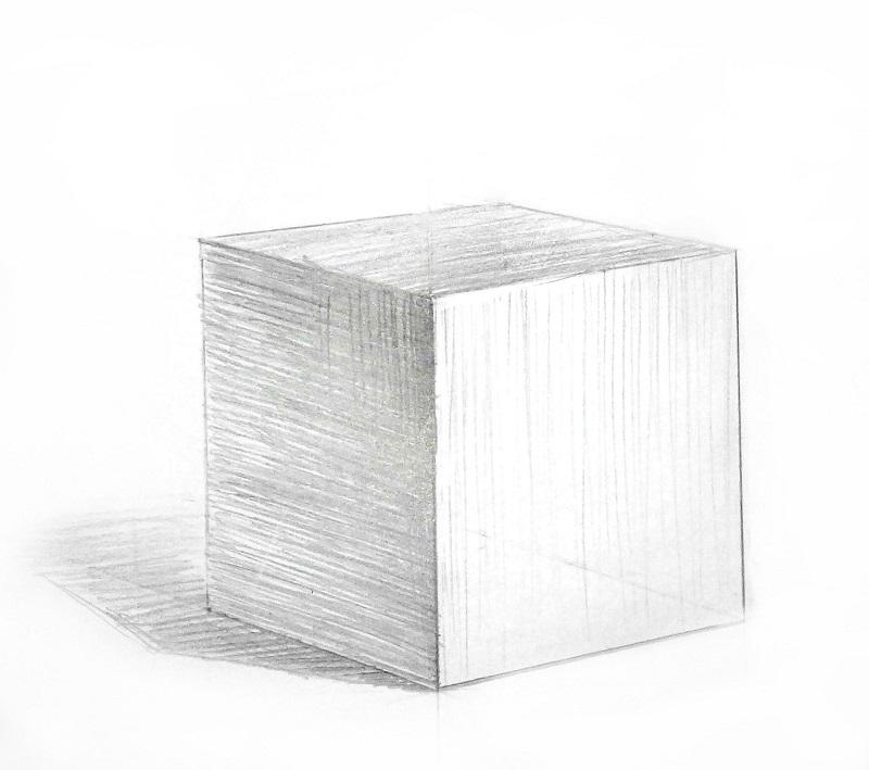 Куб намальований за законами перспективної побудови і повітряної перспективи