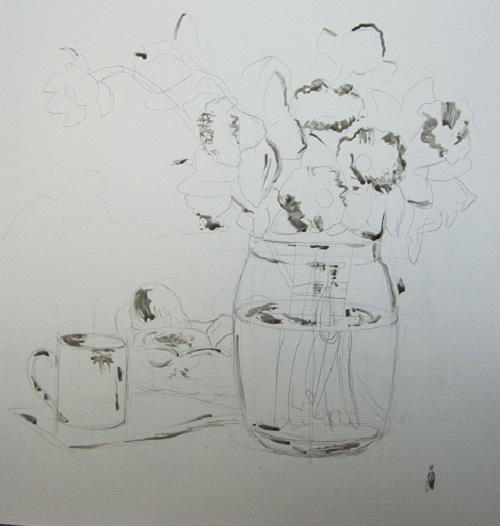 Набросок натюрморта карандашом с использованием маскирующей жидкости