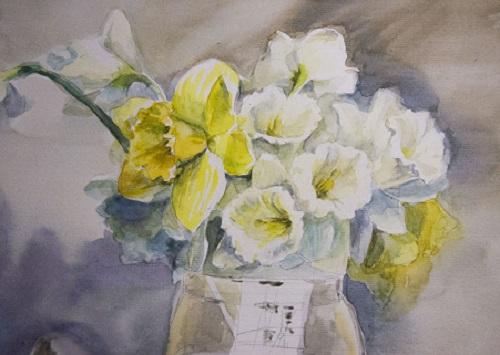 Прорисовываем цветы акварелью по мокрому
