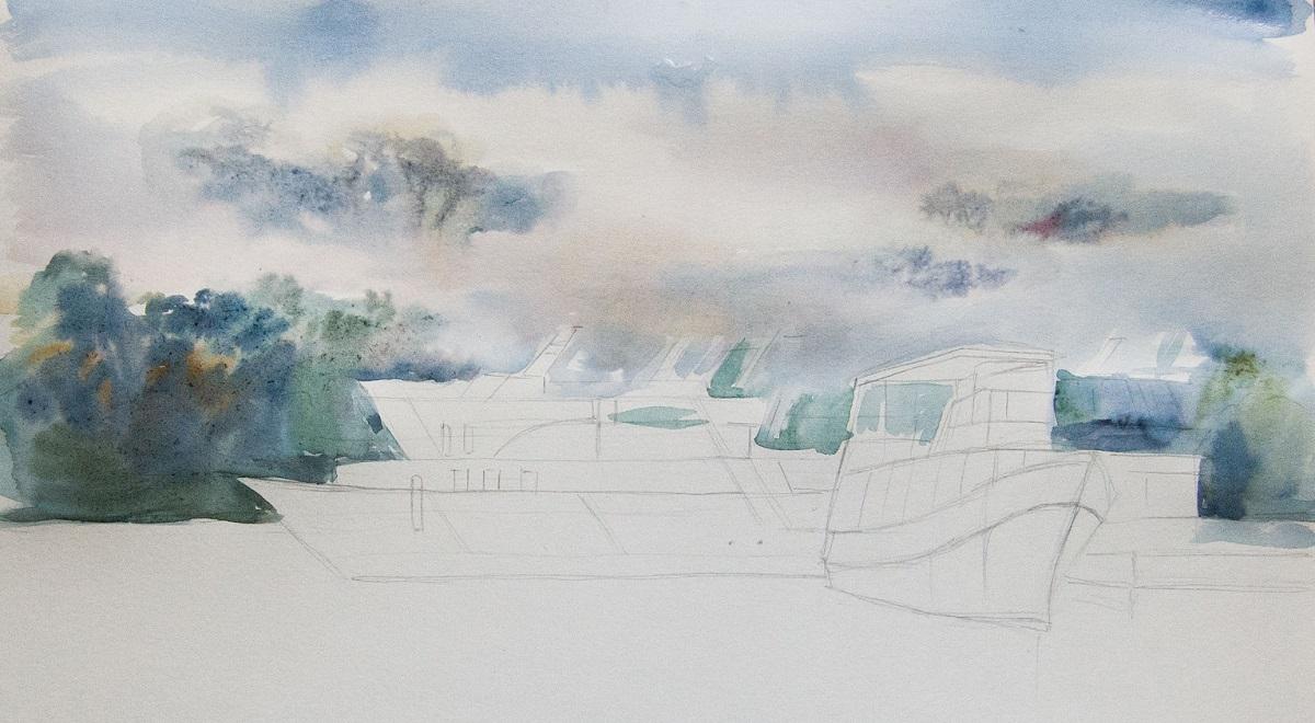 Рисование заднего плана акварелью по-мокрому