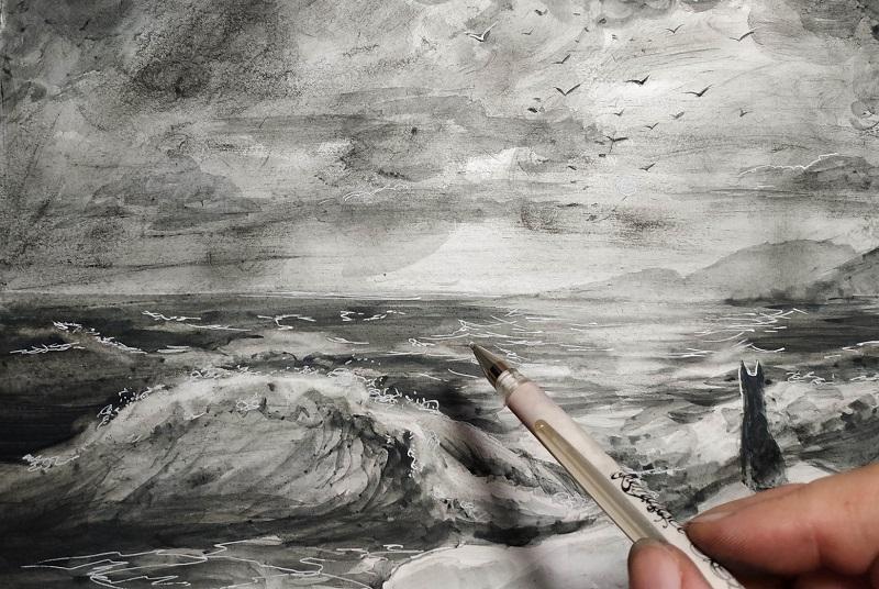 Белой гелевой ручкой дорисовываем брызги и блики на воде