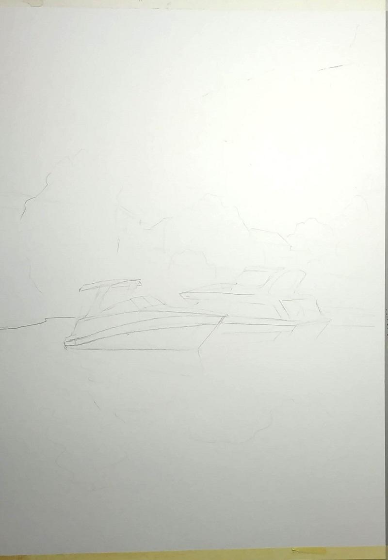 Делаем набросок карандашом. Оставляем только важные детали: две лодки и немного деревьев