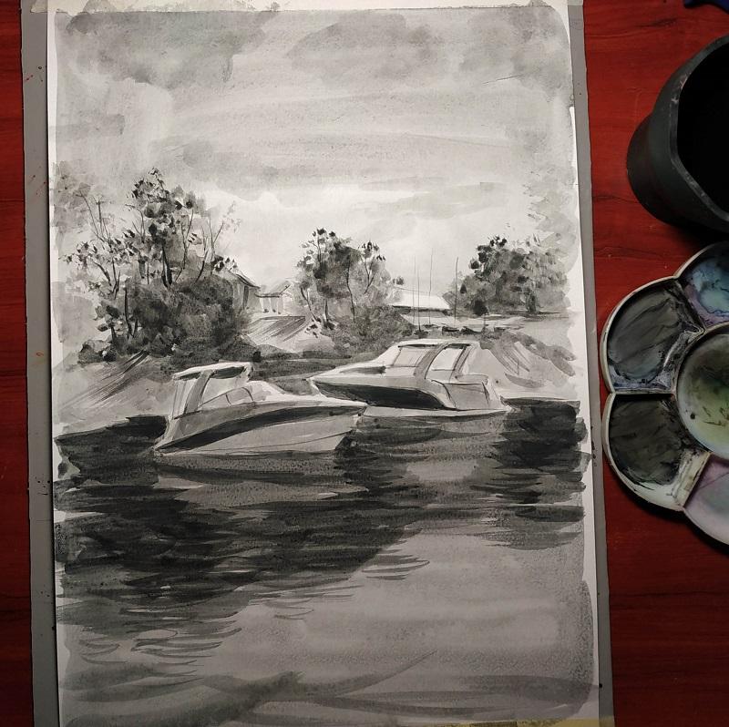 Прорисовка деталей. Тонкой кистью добавляем темные отражения в воде
