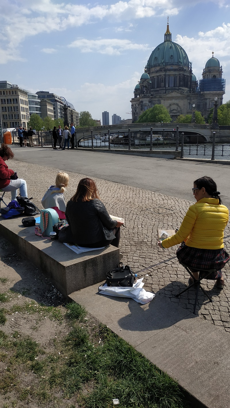 Городской пейзаж. Берлинский кафедральный собор. В процессе рисования