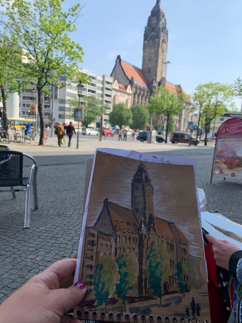 Городской пейзаж в Берлине. Ратуша. Крафтовая бумага, маркеры