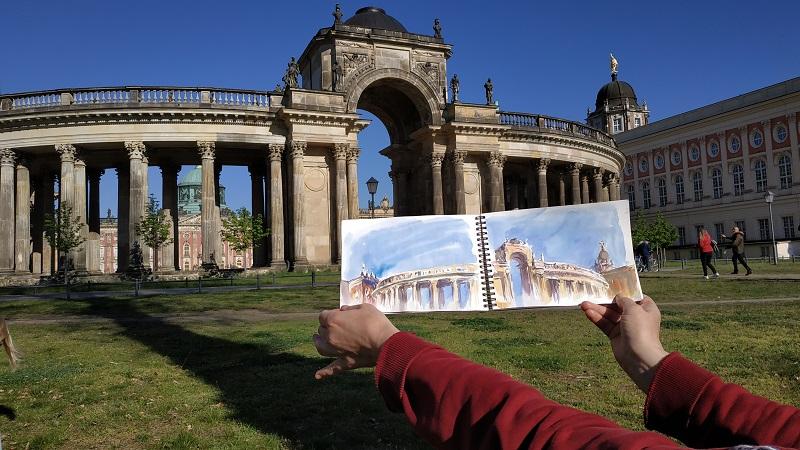 Потсдам, парк Сан-Суси. Не хватило одного листа чтобы передать масштаб колоннады, пришлось рисовать на развороте