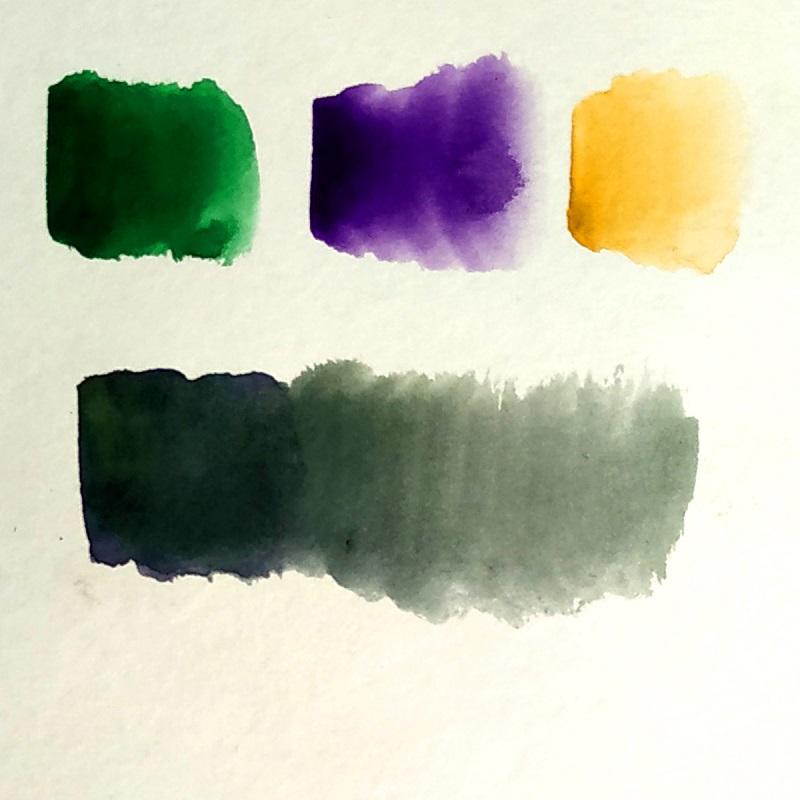 Смешивание оттенков зеленого и фиолетового